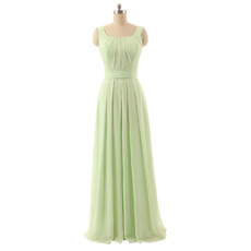 2017 New Square Floor Length Chiffon Bridesmaid Dresses with Straps
