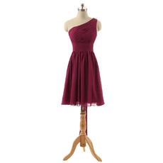 Custom One Shoulder Knee Length Chiffon Bridesmaid Dresses with Bows