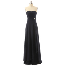 Discount Strapless Floor Length Chiffon Black Bridesmaid Dresses