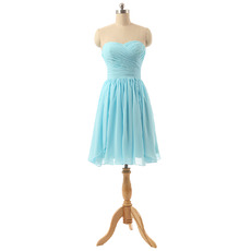 Sexy Sweetheart Short Chiffon Pleated Bridesmaid/ Wedding Party Dress
