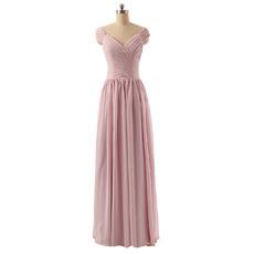 New V-Neck Cap Sleeves Floor Length Chiffon Bridesmaid Dresses