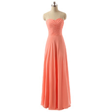 Discount Sweetheart Long Chiffon Bridesmaid/ Wedding Party Dresses