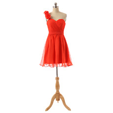Sexy One Shoulder Short Chiffon Bridesmaid/ Wedding Party Dresses