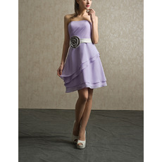 Custom Strapless Short Chiffon Bridesmaid Dresses with Belts & Flowers