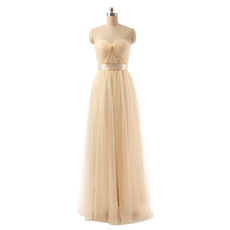 Custom Sweetheart Floor Length Organza Bridesmaid/ Wedding Party Dress