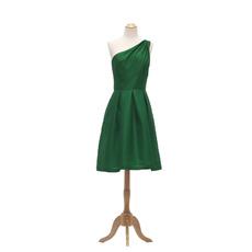 2017 New Style One Shoulder Knee Length Taffeta Bridesmaid Dresses
