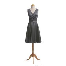 Custom V-Neck Sleeveless Knee Length Satin Bridesmaid Dresses