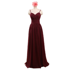 2017 Spaghetti Straps Sweetheart Floor Length Chiffon Bridesmaid Dress