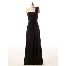 Custom One Shoulder Floor Length Chiffon Black Bridesmaid Dresses