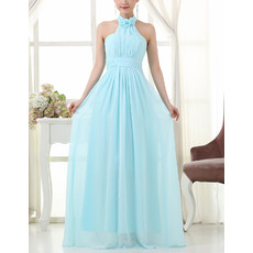 Elegant Halter Floor Length Chiffon Bridesmaid/ Wedding Party Dresses