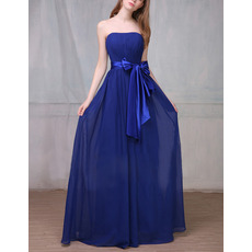 Discount Strapless Floor Length Chiffon Bridesmaid Dress with Sashes