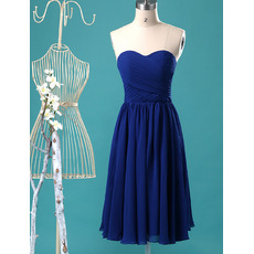 Affordable Summer Sweetheart Knee LengthRoyal Blue Pleated Chiffon Bridesmaid Dresses