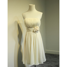 Discount Summer Knee Length Pleated Chiffon Bridesmaid Dresses with Handmade Flowers Waist