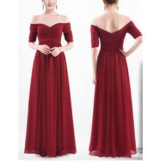 Elegant Off-the-shoulder Chiffon Bridesmaid Dresses with Half Sleeves
