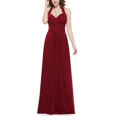 Discount Halter Sweetheart Floor Length Chiffon Bridesmaid Dresses