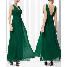 Sexy V-Neck Sleeveless Floor Length Chiffon Bridesmaid Dresses