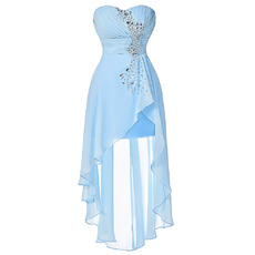 Classy Fashionable Sweetheart High-Low Asymmetric Pleated Chiffon Cocktail Party Dresses with Rhinestone