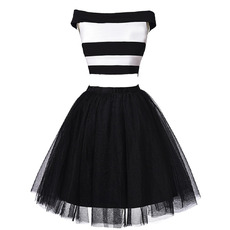Affordable Off-the-shoulder Organza Stripes Two-Piece Cocktail Dresses