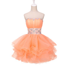 Elegantly Ball Gown Short Organza Homecoming Party Dresses with Rhinestone Detail
