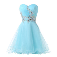 Classy A-Line Sweetheart Short Organza Satin Cocktail Dresses with Appliques Crystal Beading