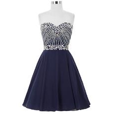 Custom A-Line Sweetheart Short Chiffon Rhinestone Cocktail Dresses