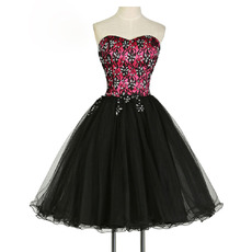 Discount Ball Gown Sweetheart Short Embroidery Cocktail Dresses