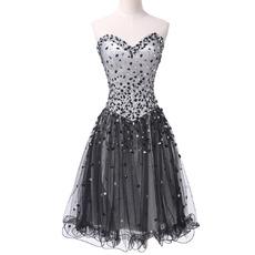 New Sweetheart Short Satin Tulle Rhinestone Cocktail Dresses