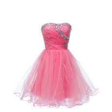 Gorgeous Sweetheart Short Tulle Homecoming Party Dresses with Rhinestone Detail