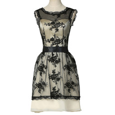 New Style Sleeveless Knee Length Lace Satin Cocktail Dresses