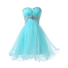 Custom Empire Sweetheart Short Satin Tulle Lace-Up Cocktail Dresses