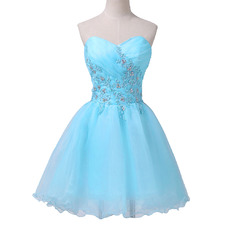 Perfect Ball Gown Sweetheart Short Organza Cocktail Homecoming Dresses with Beading Applique
