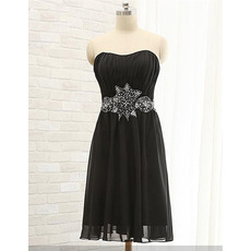 Discount Strapless Short Pleated Black Chiffon Cocktail Dress with Beading and Rhinestone Waist