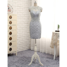 Gorgeous Column Short Satin Cocktail Party Dresses with Crystal Beading Embellished