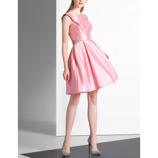 Glamour A-Line Sleeveless Pleated Skirt Short Satin Cocktail Party Dresses with Cut Out Waist