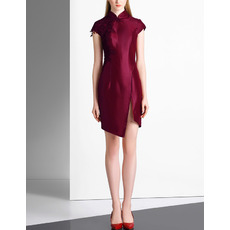 Fashionable Sheath Mandarin Collar Asymmetrical Hem Cocktail Dresses with Cap Sleeves and Beaded Appliques