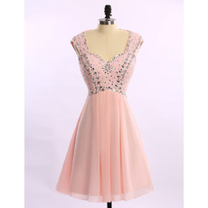 Shimmering Sweetheart Open Back Short Chiffon Cocktail Party Dresses with Crystal Beaded Bodice