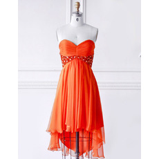 Discount Empire Sweetheart High-Low Pleated Chiffon Cocktail Party Dresses with Beaded and Rhinestone