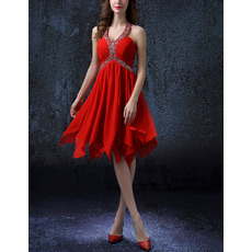 Glamour Empire Beading Halter Sleeveless Flowing Short Chiffon Cocktail Party Dresses with Pleating