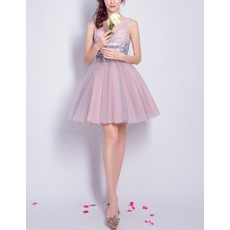 Beautiful V-Neck Short Tulle & Lace Homecoming Party Dresses with Sequined Detailing