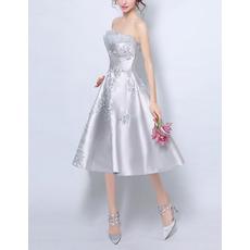 Custom A-Line Strapless Knee Length Satin Cocktail Party Dresses