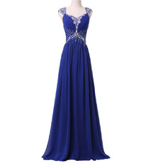 Custom Sweetheart Long Chiffon Rhinestone Lace-Up Evening Dresses