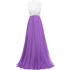 Gorgeous One Shoulder Chiffon Evening/ Prom Dresses with Beading Crystal Bodice