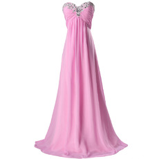 Inexpensive Beaded Appliques Empire Floor Length Chiffon Evening/ Prom Dresses