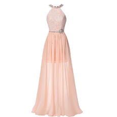 Sexy Halter Floor Length Chiffon Backless Evening/ Prom Dresses