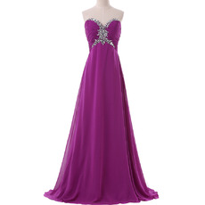Glamorous Empire Sweetheart Chiffon Evening/ Prom Dresses with Beaded Rhinestone Detail