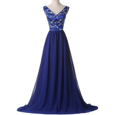 Shimmering V-Neck Satin Chiffon Evening/ Prom Dress with Crystal Beading Bodice