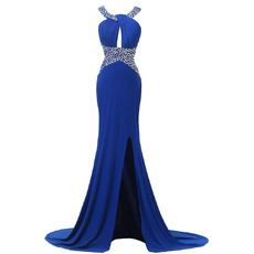 Seductive Plunging Back Evening/ Prom Dresses with Beaded Neckline and Waist