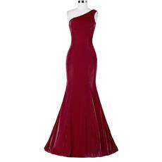 Simple Mermaid One Shoulder Floor Length Evening/ Prom Dresses