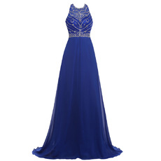 Custom Sleeveless Floor Length Chiffon Beading Evening/ Prom Dresses