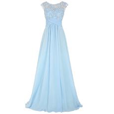 Classy Beading Applique Bodice Chiffon Evening/ Prom Dresses with Illusion Back